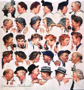 "Norman Rockwell (1894-1978), ""The Gossips,"" 1948. Painting for ""The Saturday Evening Post"" cover, March 6, 1948."